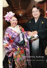 【挙式・披露宴】 お式も披露宴も和装で、和太鼓演奏もあり、純和装の結婚式です。