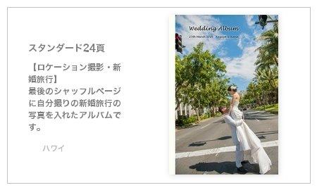 【ロケーション撮影・新婚旅行】 最後のシャッフルページに自分撮りの新婚旅行の写真を入れたアルバムです。