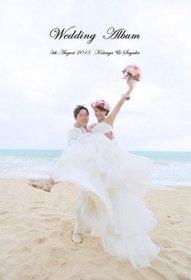 とても良い仕上がりで満足しています!完成した結婚式アルバムはハワイにいる時間を思い出させてくれる素敵な結婚式アルバムでした。結婚式アルバム。