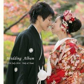 日本庭園での和装、前撮り写真をラージのワイド感のあるページに構成しました。結婚式アルバム。