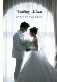 前撮りと挙式披露宴をまとめた一冊です。結婚式アルバム。