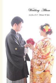 スタジオでの色打掛とウエディングドレスの前撮り写真を収めた一冊です。結婚式アルバム。