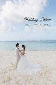 【海外挙式・海外ロケーション撮影】 グアムの海の見えるチャペルでの挙式です。ゲストの方と撮影後、二人でビーチ撮影です。